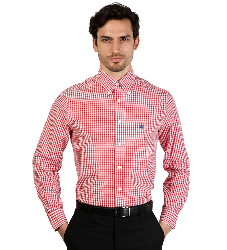 Brooks Brothers Chemise Slim Fit À Carreaux Blanc Et Rouge