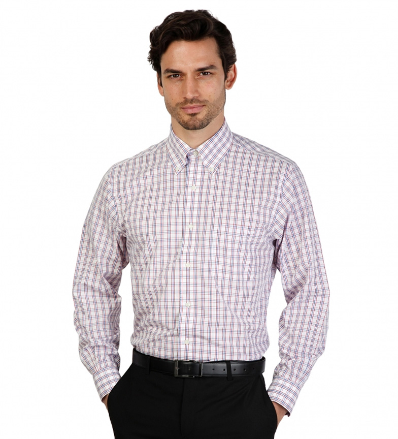 Brooks Brothers Camisa Couleur Slim Fit Blanco Con Cuadros