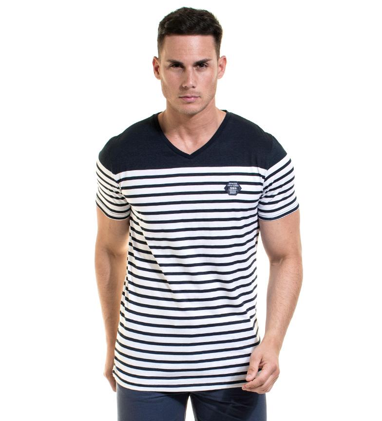 Rétro-éclairage Camiseta Wayne Col Marino, Blanco