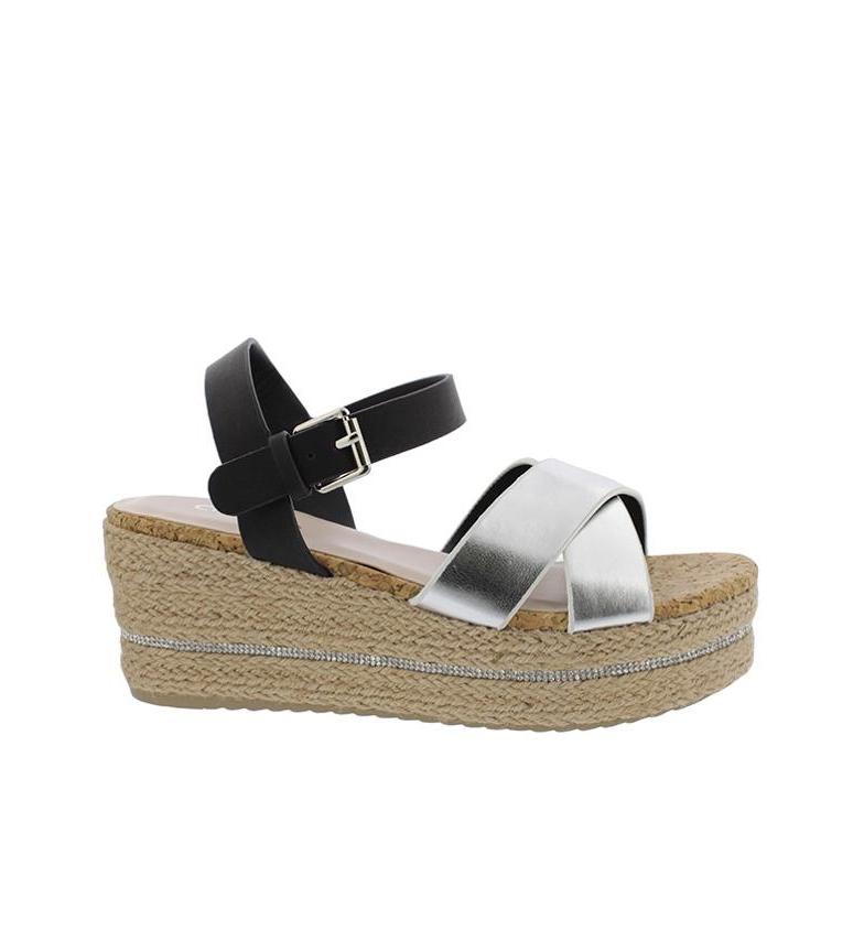 Sandales Compensées Noires Chika10 01 Hauteur Fait Don: 7cm