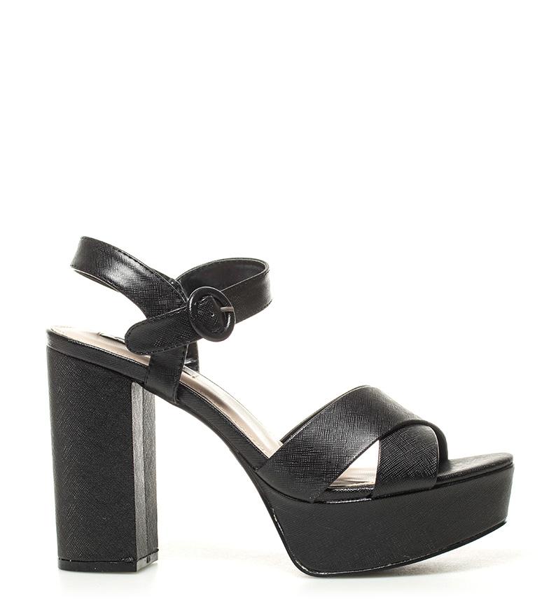 01 Chika10 Sandales Nouveau Métal Noir Taylor Talon Haut: 12cm