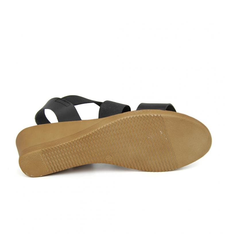 à vendre Liberitae Mini Sandales Wedge En Cuir Noir Et Élastique clairance site officiel aPG2FO6YC