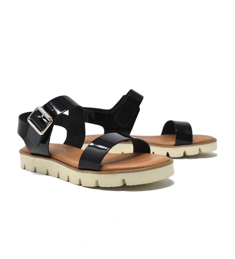Liberitae Sandale Plate En Verni Noir vente acheter HM2VhpGCW