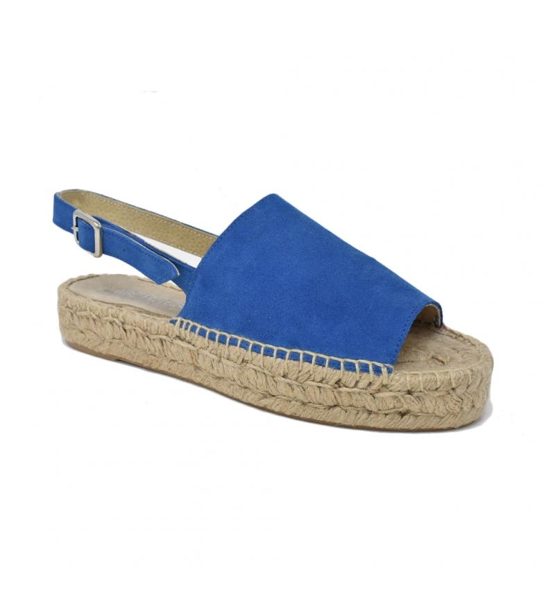 classique sortie Liberitae Sandale Plate Jute Daim Bleu bonne prise vente S18iK2