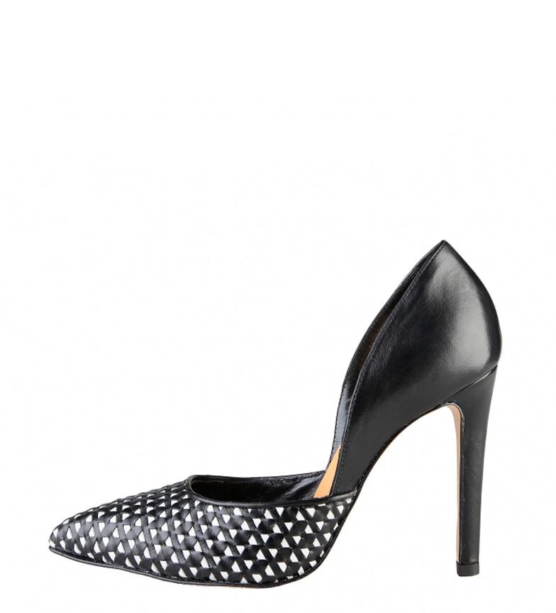Fait Dans Les Chaussures En Cuir Noir Talon Italie Violete Haut: 10 Cm