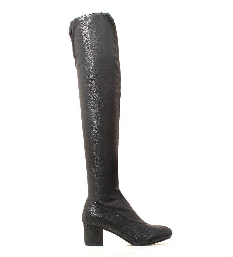 Mariamare Bottes Noires Lory, Talons Hauts Argent: 6cm