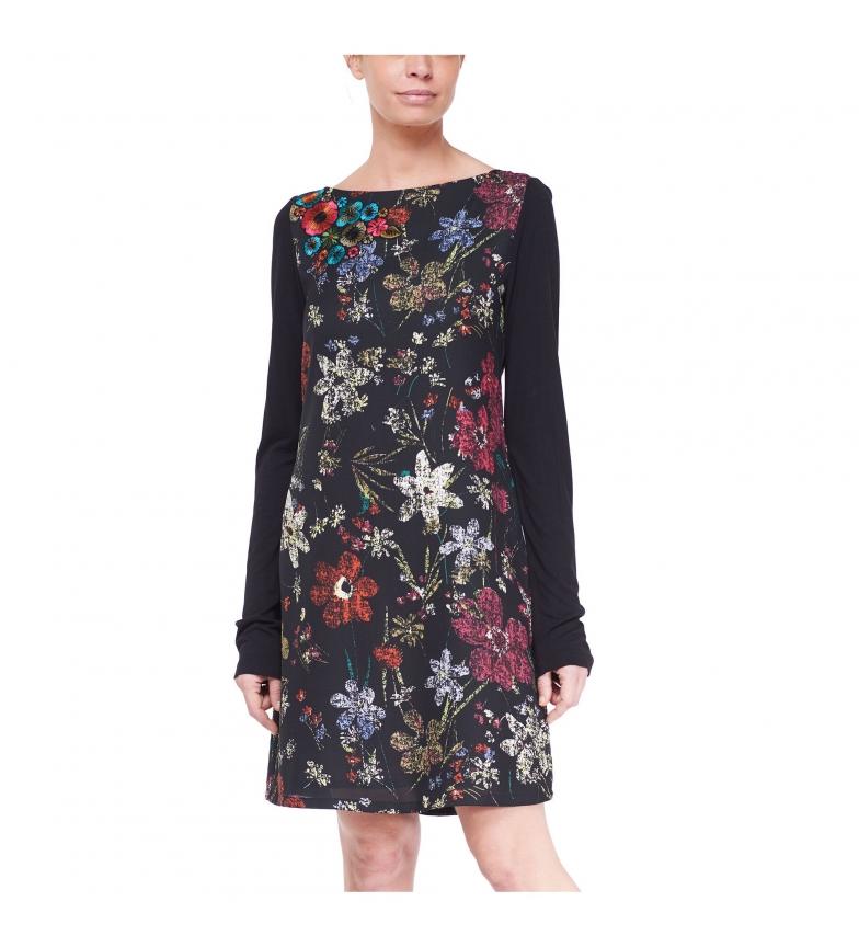 Jolie Robe Avec Imprimé Floral Noir À Manches Longues