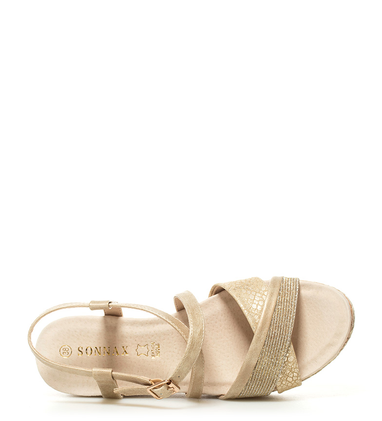 Sonnax Sandales Compensées Or Hauteur Eba: 6,5 Cm
