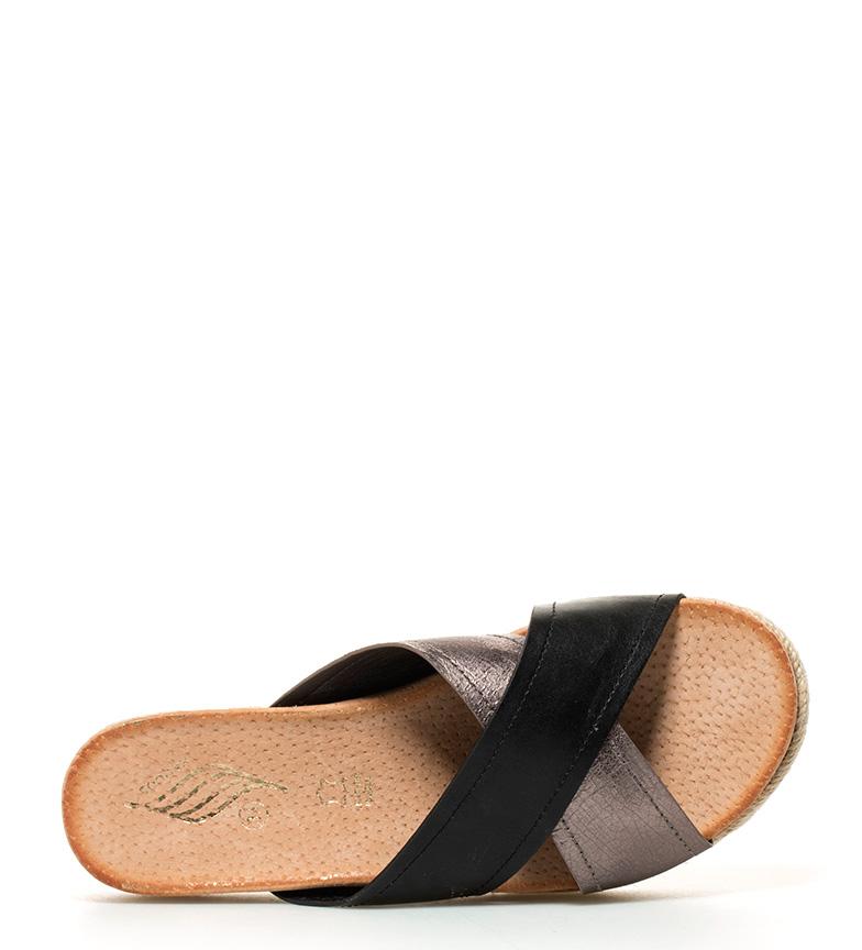 Sonnax Croix Noire Sandales De Bandes, De Hauteur De Plate-forme Argent: 5cm