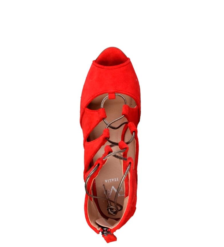 Estelle9 Hauteur En V Rouge Talon Cm Cuir 5 Sandales 1969 ulFK35cT1J