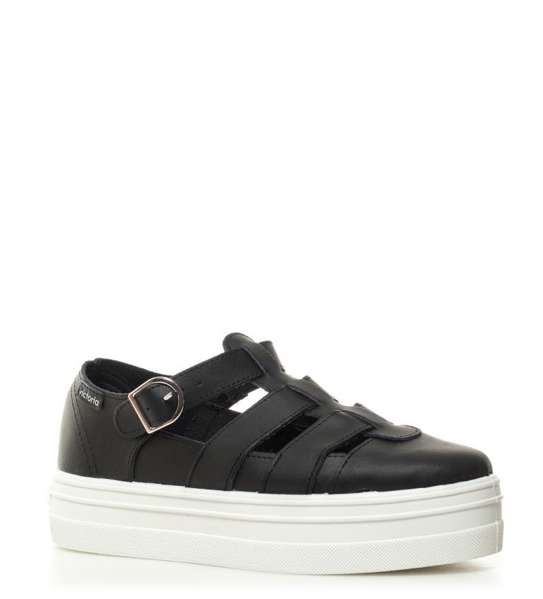 Victoria Chaussures Hauteur De Plate-forme En Cuir Noir: 4cm recommander Vente en ligne confortable en ligne w0vzIa