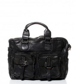 Messenger de piel lavada New Crackle negro -30x38x13,5cm-