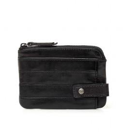 Portamonedas de piel Qaus negro -9x12x1cm-