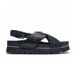 Sandalias de piel Santa Monica Sunrise Crossband negro