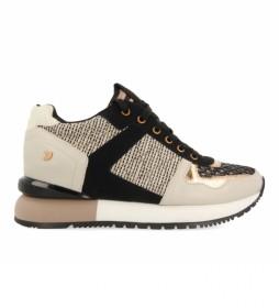 Zapatillas de piel Lubbock Mix de Texturas Bicolor beige, negro