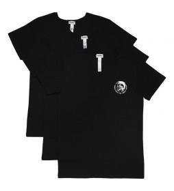 Pack de 3 camiset Umtee-Michael negro logo blanco