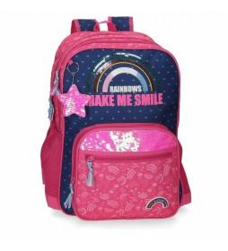 Mochila Doble Compartimento adaptable  Glitter Rainbow rosa, marino -32x45x17cm-