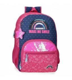 Mochila Escolar Glitter Rainbow Adaptable rosa, marino -33x45x17cm-
