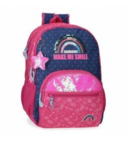 Mochila Escolar Glitter Rainbow Dos Compartimentos rosa, marino -33x45x17cm-