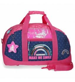 Bolsa de viaje Glitter Rainbow rosa, marino -50x28x26cm-