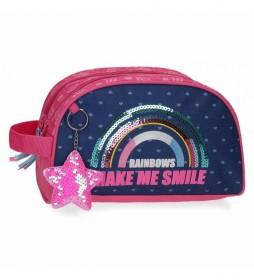 Neceser Glitter Rainbow Doble Compartimento Adaptable marino, rosa -26x16x12cm-