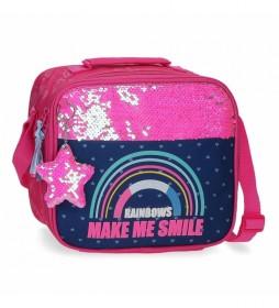 Bolsa Térmica Porta Alimentos  Glitter Rainbow rosa, marino -25x21x11cm-