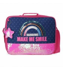 Cartera Escolar  Glitter Rainbow rosa, marino -38x26x6cm-