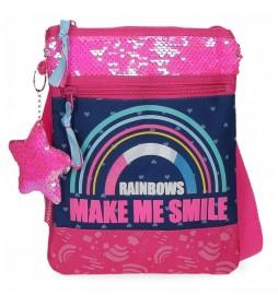 Bandolera Plana  Glitter Rainbow rosa, marino -20x24x0.5cm-