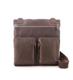 Bolso bandolera de piel Unuk marrón -30x30x5cm-
