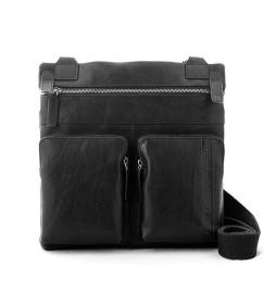Bolso bandolera de piel Unuk negro -30x30x5cm-