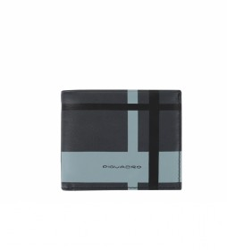 Cartera de Piel PU4518TAGR negro, azul -9x11x2cm-