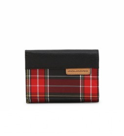 Cartera de Piel  PU4455BL negro, rojo -11x8,5x2,5cm-