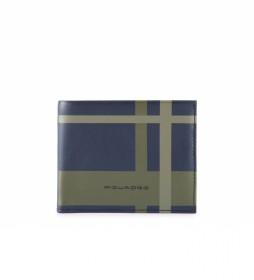 Cartera de Piel PU3891TAGR azul -11x9x1cm-