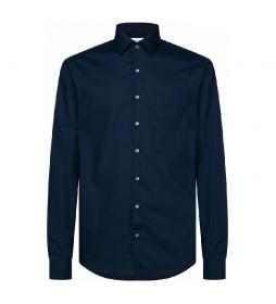 Camisa Slim de popelín elástico marino