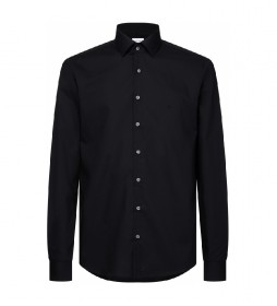 Camisa Slim de popelín elástico negro