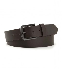Cinturón de piel Seine Metal marrón