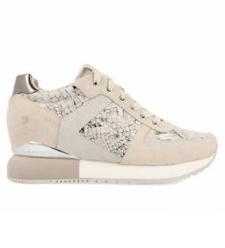 Zapatillas de piel Rapla blanco roto -Altura cuña interna + plataforma: 5,8cm-