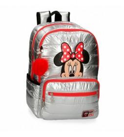 Mochila Minnie Doble Compartimento My Pretty Bow gris -32x44x17cm-