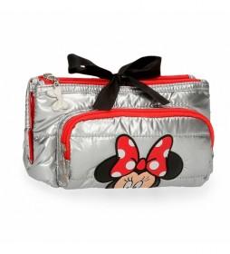 Neceser 3 Compartimentos Minnie My pretty Bow gris -21,5x11x8,5cm-