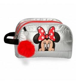 Neceser Doble Compartimento Minnie My Pretty Bow gris -25,5x16,5x11cm-