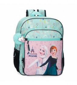 Mochila Escolar Frozen  Arandelle is Home  Adaptable verde -30x38x12cm-