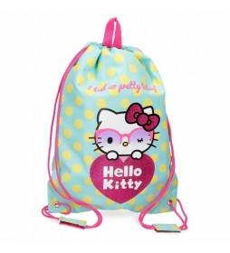 Bolsa Gym Sac Hello Kitty Pretty Glasses verde -30x40cm-
