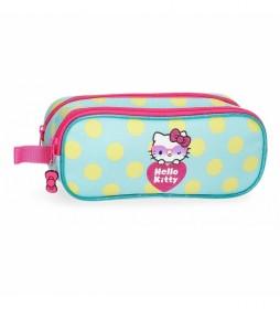 Estuche Hello Kitty Pretty Glasses Dos Compartimentos verde -23x9x7cm-