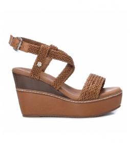 Sandalias de piel 067173 marrón -Altura cuña:10cm-