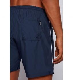 Bañador Tipo Shorts de Secado Rápido con Ribeteado y Logo en Contraste marino