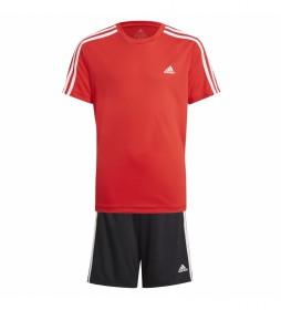 Conjunto Camiseta y Shorts 3 Stripes rojo