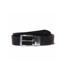 Cinturón de piel Reversible negro -3,5 cm-
