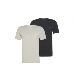 Pack de 2 camisetas manga corta Crew Neck gris, negro