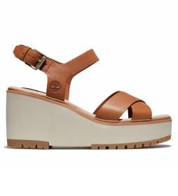 Sandalias de piel Koralyn Cross Strap marrón -Altura de la cuña: 8cm-