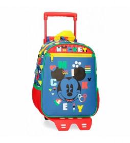 Mochila con ruedas Mickey 43821T1 azul - 23x28x10cm -